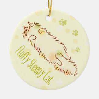 Fluffy Sleepy Cat Ceramic Ornament