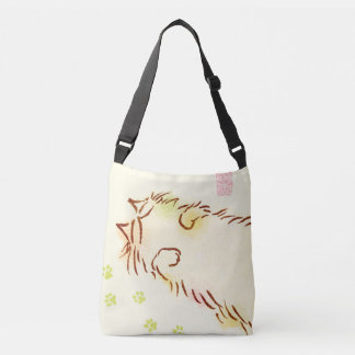Fluffy Sleepy Cat Crossbody Bag