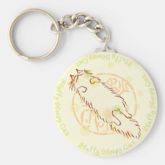 Fluffy Sleepy Cat Keychain