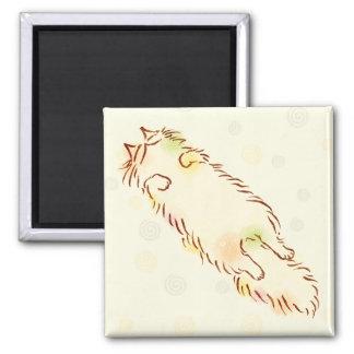 Fluffy Sleepy Cat Magnet