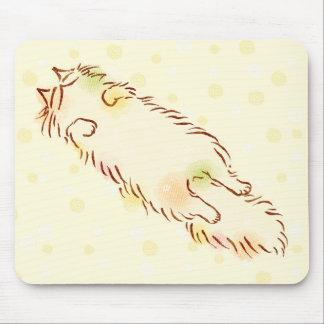 Fluffy Sleepy Cat Mouse Pad
