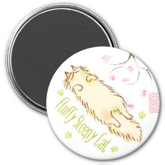 Fluffy Sleepy Cat Plum blossom Magnet