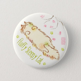 Fluffy Sleepy Cat Plum blossom Pinback Button