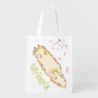 Fluffy Sleepy Cat Plum blossom Reusable Grocery Bag
