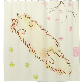 Fluffy Sleepy Cat Plum blossom Shower Curtain