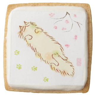 Fluffy Sleepy Cat Plum blossom Square Shortbread Cookie