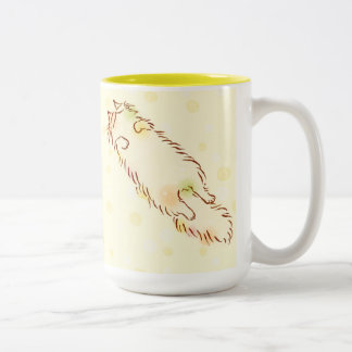 Fluffy Sleepy Cat Two-Tone Coffee Mug