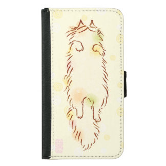 Fluffy Sleepy Cat Wallet Phone Case For Samsung Galaxy S5