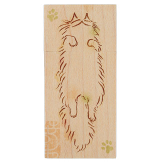 Fluffy Sleepy Cat Wood Flash Drive