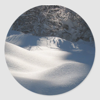 Fluffy Snow and Sunshine Classic Round Sticker