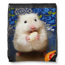 Fluffy syrian hamster Kokolinka eating a seed Drawstring Bag