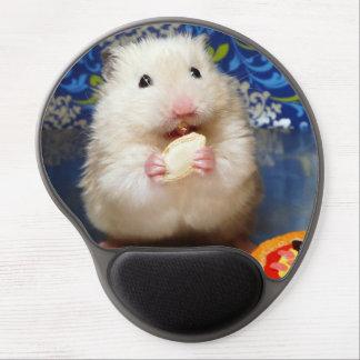 Fluffy syrian hamster Kokolinka eating a seed Gel Mouse Pad