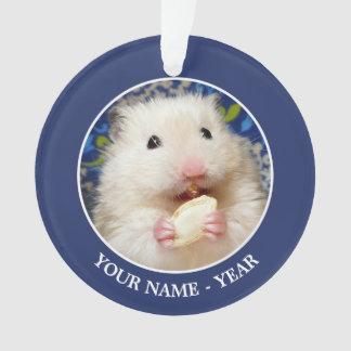 Fluffy syrian hamster Kokolinka eating a seed Ornament