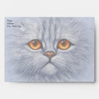 Fluffy Tabby Cat Kitten Face Light Gray Envelope
