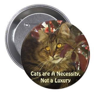 Fluffy TABBY CAT Pet Lover Buttons