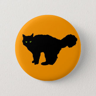 Fluffy Tail Black Cat on Orange Button