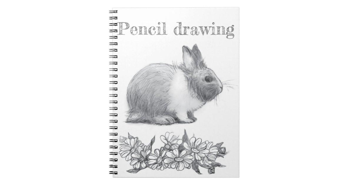 Fluffy The Rabbit Pencil Drawing Notebook Zazzle Com