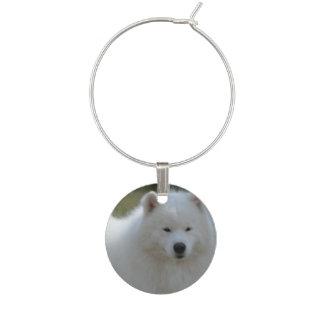 Fluffy White American Eskimo Dog Wine Glass Charm