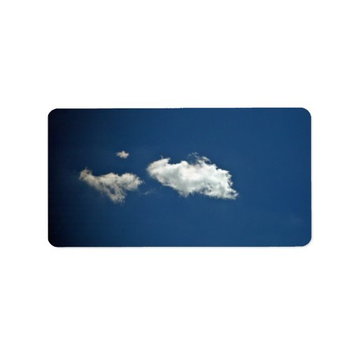 Fluffy white cloud on deep blue sky personalized address labels