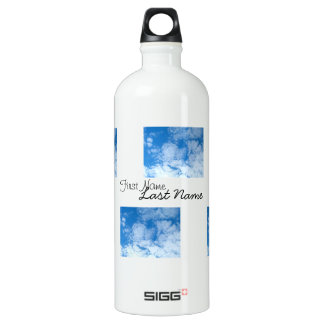 Fluffy White Clouds; Customizable Aluminum Water Bottle