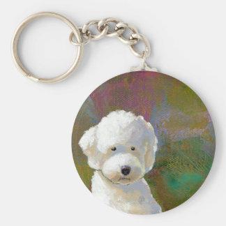 Fluffy white dog adorable puppy thinking fun art keychain