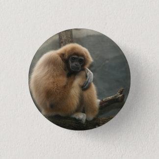 Fluffy white-handed lar gibbon button