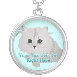 Fluffy White Kitten Necklace