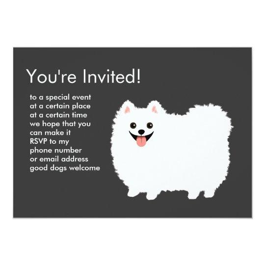 Fluffy White Pomeranian Invitation Zazzle Com