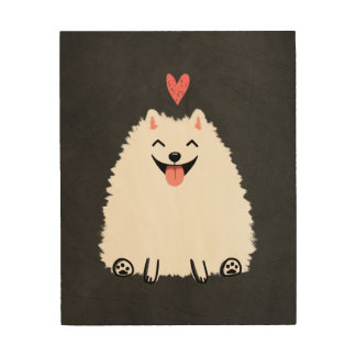 Fluffy White Pomeranian with Heart Wood Wall Art