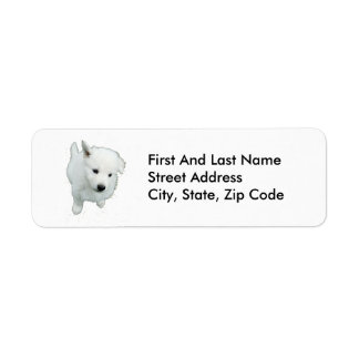 Fluffy White Puppy Photograph Label
