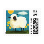 Fluffy White Sheep and Flowers Postage