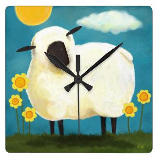 Fluffy White Sheep & Flowers Wall Clock