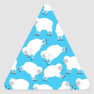 Fluffy White Sheep Pattern Triangle Sticker