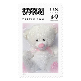 Fluffy White Teddy Bear Postage