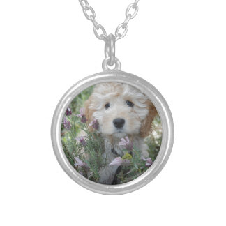 Fluffy White Terrier Plays In The Lilac Flowers Silver Plated Necklace