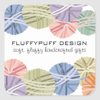 Fluffy yarn balls knitting crochet gift tag