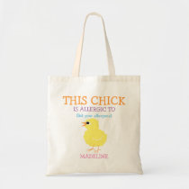 Fluffy Yellow Chick Personalized Allergy Alert Tote Bag
