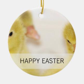 Fluffy Yellow Ducklings Ceramic Ornament