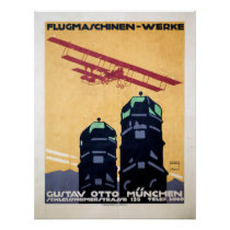 Flugmaschinen Werke Vintage Travel Poster