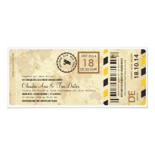 Flugzeug Bordkarte Ticket Hochzeitseinladung Invitation
