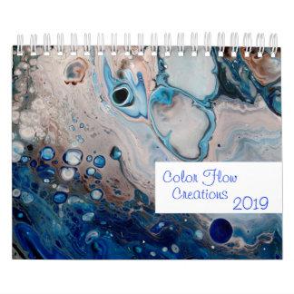 Fluid Acrylic Abstract Paintings Art Modern Calendar