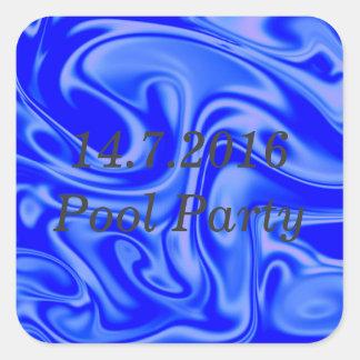 fluid art01inky blue square sticker