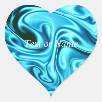 fluid art 01 aqua heart sticker