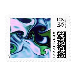 fluid art 05 green postage stamps