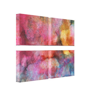 Fluid Art Abstract Vivid Pink Ink Painting Canvas Print