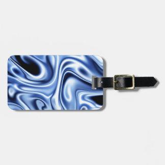 fluid art blue travel bag tag