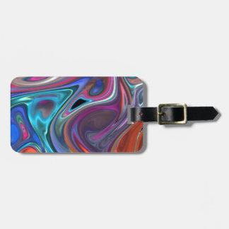 fluid art colorful bag tags