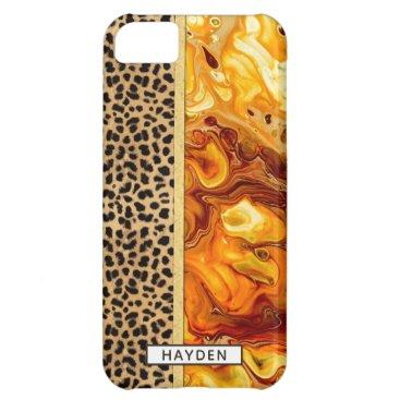 Fluid Art Pour Personalized Leopard Print Case For iPhone 5C