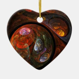 Fluid Connection Abstract Art Heart Ornament