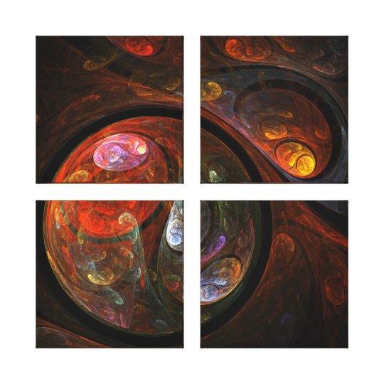 Fluid Connection Abstract Art Quad Canvas Print